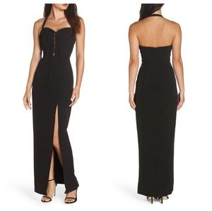 NEW Wayf Sydney Lace Up Halter Maxi Gown S